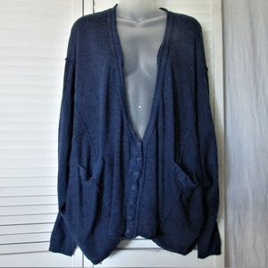 Free People dark royal blue linen rayon cardigan M